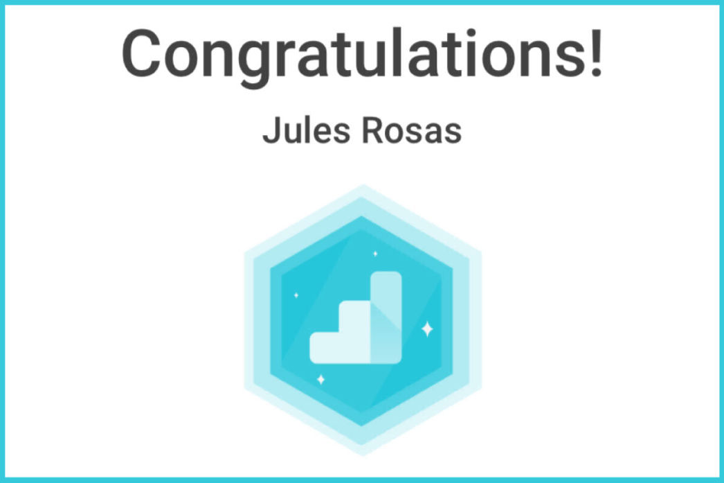 Google Analytics Individual Qualification Jules Rosas